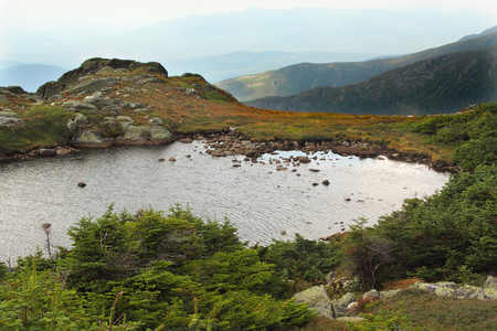 alpine zone: Lake of the Clouds on Mt. Washington. This is a glacial lake in the arctic alpine habitat zone in the White Mountains National Forest of New Hampshire at an elevation of about 5500 feet.