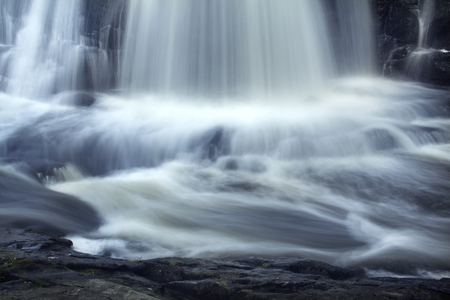 gauzy: Southford Falls of the Eightmile River in Oxford, Connecticut. Site of an old match factory. Stock Photo