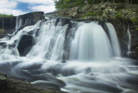oxford: Southford Falls of the Eightmile River in Oxford, Connecticut. Site of an old match factory. Stock Photo