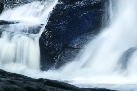 gauzy: Horizontal view of upper Southford Falls of the Eightmile River in Oxford, Connecticut. Stock Photo