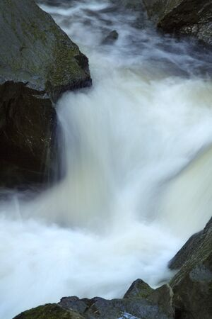 gauzy: Rapids in the riverbend at Southford Falls, Oxford, Connecticut. Stock Photo