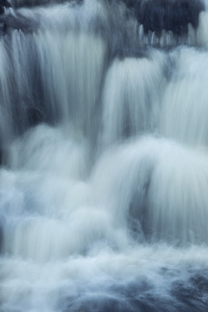 gauzy: Five levels in the vertical cascade of Southford Falls of the Eightmile River in Oxford, Connecticut. Stock Photo