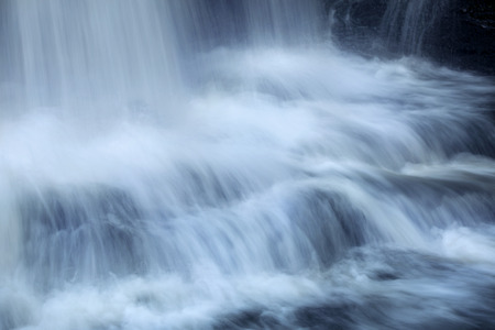 thundering: Left to right, horizontal view of the turbulent base of Southford Falls of the Eightmile River in Oxford, Connecticut.