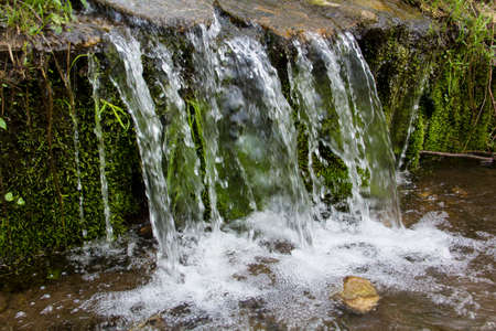 preserve: Tiny waterfall over smooth rocks and green mosses, Valley Falls Park, Vernon, Connecticut.