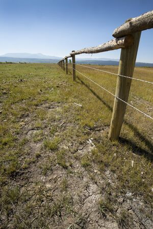 receding: Horse pasture in northern Jackson Hole, Wyoming, with long fence receding into the distance, on ranchland near Moran on a sunny, late summer day, vertical image. Stock Photo