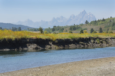 river: Riverbank of the Buffalo Fork River in northern Jackson Hole, Wyoming, with peaks of the Grand Teton mountain range in the background.