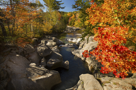warren: Fall foliage and smooth, sculpted boulders along the Baker River in Warren, New Hampshire on a sunny day in autumn. Stock Photo