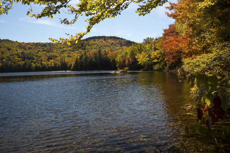 woodstock: Fall foliage along shore of Russell Pond in the White Mountains near Woodstock, New Hampshire, horizontal image. Stock Photo