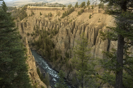den: Yellowstone River in a canyon near Devils Den in Yellowstone National Park. Stock Photo