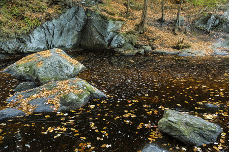 granite park: Autumn leaves float in an amber pool, with granite boulders and clear water at Enders State Park in Granby, Connecticut.