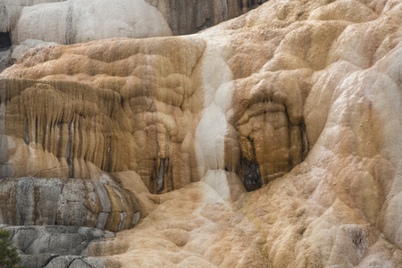 thermal spring: Monumental travertine terraces of geothermal activity, nearly dry from drought at Mammoth Hot Springs in Yellowstone National Park, Wyoming. Stock Photo