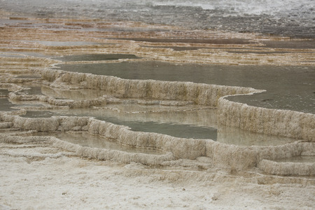 thermal spring: Geothermal pools of hot water form terraces overlying the travertine rock of Mammoth Hot Springs in Yellowstone National Park, Wyoming.