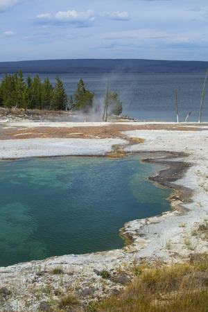 microbial: Blue water with orange microbial mats, steam and white lime of a hot springs in the West Thumb basin, Yellowstone National Park, Wyoming. Yellowstone Lake is in the background. Vertical. Stock Photo