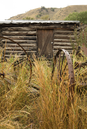 butte: Antique, rusting metal farm implements in the grass in front of log cabin, with Gros Ventre Butte in background, Jackson, Wyoming, on a rainy summer day, vertical image.