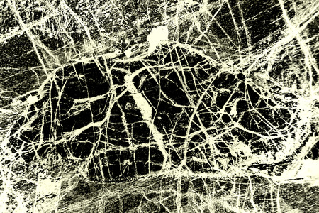 Tangled web of white bands on black background in abstract micrograph of peridotite rock, at 40x with polarization.