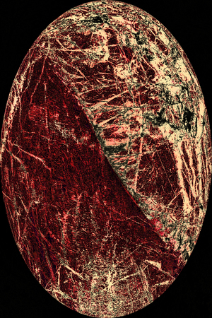 Deep red wedge hollows out an egg-shaped, abstract micrograph of peridotite rock, at 40x with polarization.