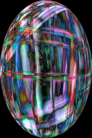intertwined: Colorful, abstract micrograph of fibers from fruit ball of a sycamore tree, in digitally altered, egg shaped vignette at 100x. Stock Photo