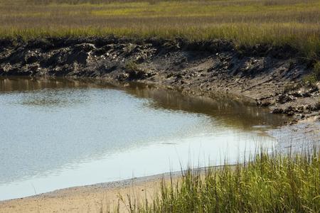 Deep mud and peat of Blackbeard Creek underlies the marshlands of Harris Neck National Wildlife Refuge in McIntosh County, Georgia.