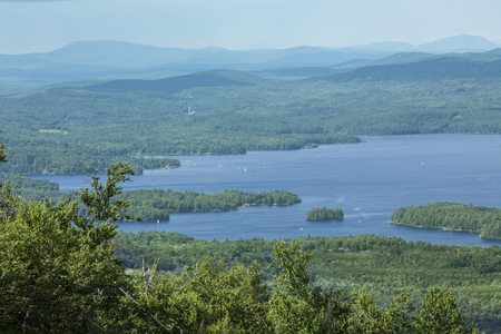 Tranquil view of Lake Sunapee in summertime from the north peak of Mt. Sunapee in New London, New Hampshire.