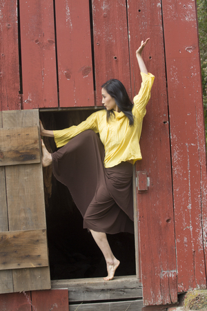 Shapes of a dancer complement a doorway in the side of a red barn on a farm in Ellington, Connecticut. Stock Photo