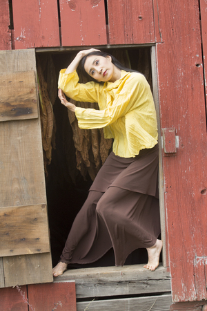 Shapes of a dancer in Earth tones complement a doorway in the side of a red barn on a farm in Ellington, Connecticut. Stock Photo