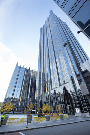 Pittsburgh, Pennsylvania / USA - November 7, 2018: The glass palace of PPG Place is considered by many the crown jewel of downtown.