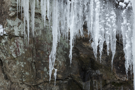 Winter ice formations on the rocks at Blackledge Falls Park in Glastonbury, Connecticut. Stock Photo