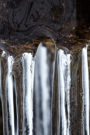Long, smooth, clear icicles at Blackledge Falls Park in Glastonbury, Connecticut. 免版税图像