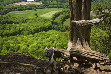Scenic summer view of the Farmington River Valley from cliffs on Talcott Mountain in Simsbury, Connecticut.