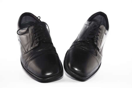 lace up: Pair of Shiny black leather lace up shoes