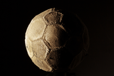hape: Old and vinatage soccer ball isolated on white background.