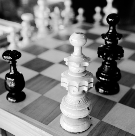 Black and white Detail chess black and white Stock Photo