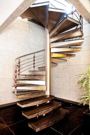 lowboard: Modern iron stair Interior with concrete wall balck floor Stock Photo