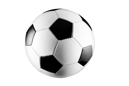 asiatic: Black and white soccer ball isolated on white background. Stock Photo