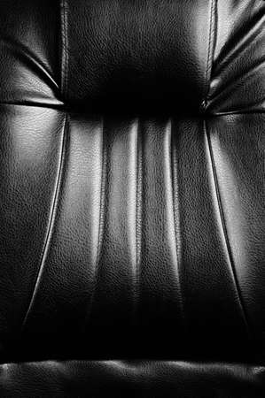 loveseat: Genuine and elegance black leather texture detail.