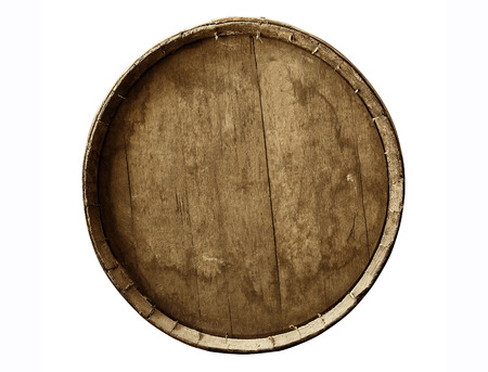 Old Wine barrel in a white background