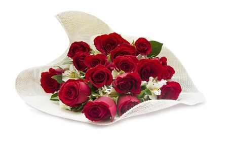 Red roses bouquet on white background. Valentine´s day Stock Photo