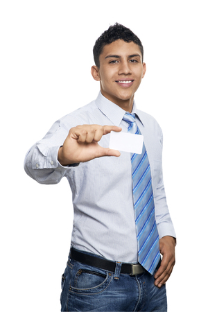 smartness: Young business man smiling with card isolated on white Stock Photo