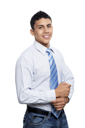 smartness: Young business man smiling isolated on white