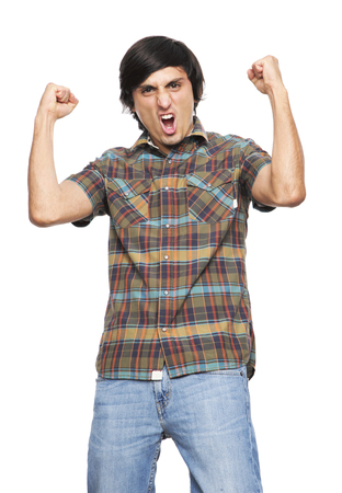feasting: Young Man  Shouting and feasting I fill of happiness and emotion on white background