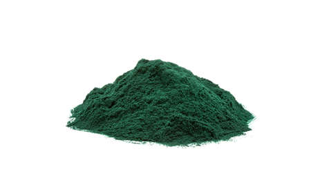 Spirulina seaweed dust food supplement on white background