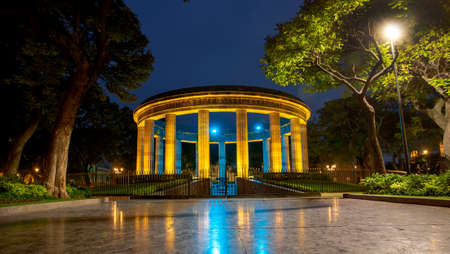 The Rotunda of the Illustrious Jalisciense. Architecture and monuments of the city of Guadalajara, Jalisco, Mexico. Night shots.