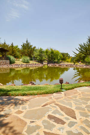 Zen garden with lakes and rivers. beautiful view in a forest. Mazamitla, Mexico