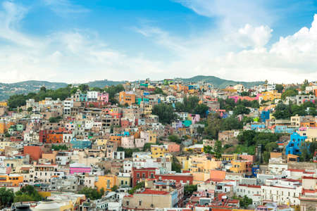 Panoramic view of the city of Guanajuato, Mexico. magical town