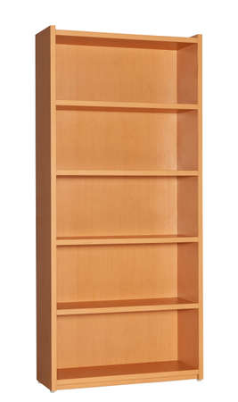 Office furniture. Wooden natural color bookcase on white background.