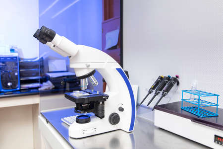 blue gynecology laboratory microscope with sperm testing