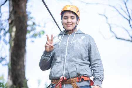 happy young man pulled from the zip line in Mazamitla