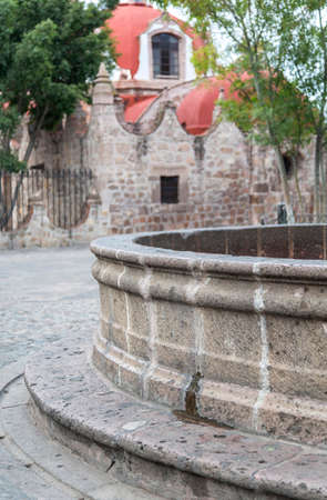 detail of source with quarry buildings in Morelia, Michoacan