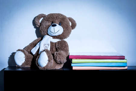 Teddy bear soft toy in child's bedroom with colorful books, with blue night light