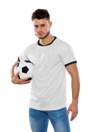 Young soccer fan with white shirt ball in hands on white background